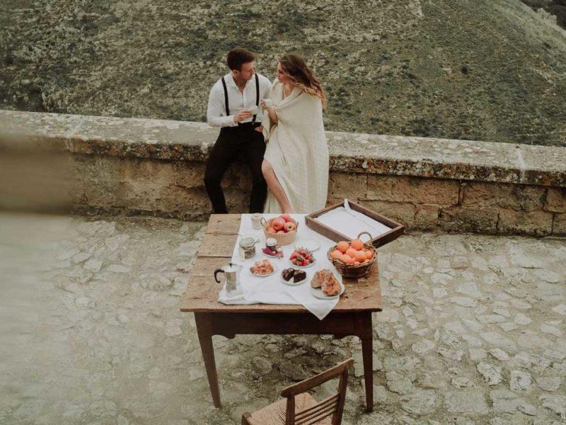 matrimonio boho chic inspiration matera sposi colazione