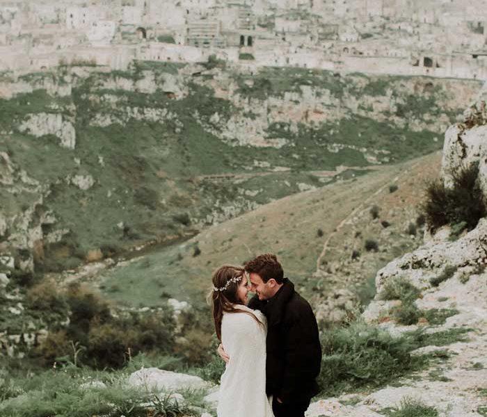 matrimonio boho chic inspiration matera sposi e panoramica matera